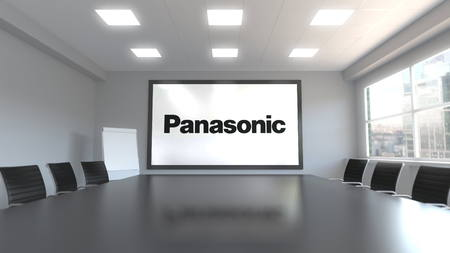 Panasonic Corporation logo on the screen in a meeting room. Editorial 3D rendering