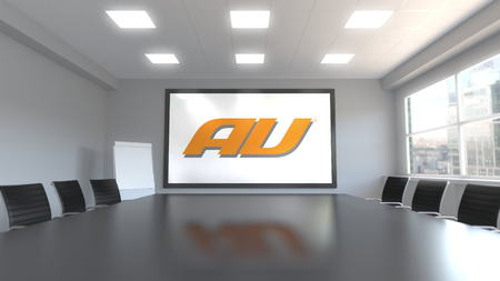 au mobile phone company logo on the screen in a meeting room. Editorial 3D rendering