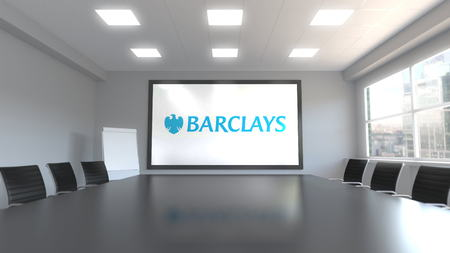 Barclays logo on the screen in a meeting room. Editorial 3D rendering