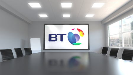 BT Group logo on the screen in a meeting room. Editorial 3D rendering