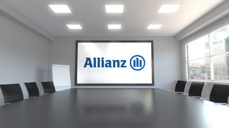 Allianz logo on the screen in a meeting room. Editorial 3D rendering Editorial