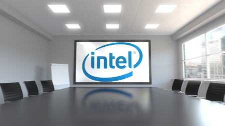 Intel Corporation logo on the screen in a meeting room. Editorial 3D rendering 新闻类图片