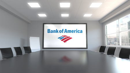 Bank of America logo on the screen in a meeting room. Editorial 3D rendering