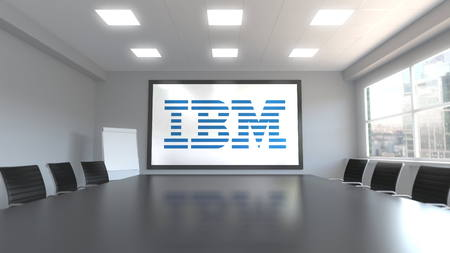 IBM logo on the screen in a meeting room. Editorial 3D rendering Editorial