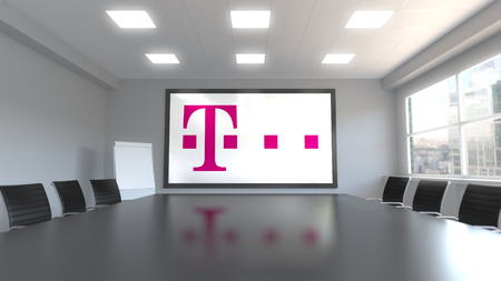 T-Mobile logo on the screen in a meeting room. Editorial 3D rendering