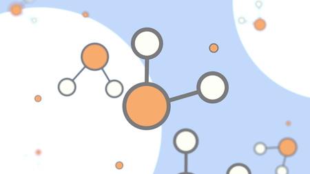 Orange and white molecule models. Cartoon illustration