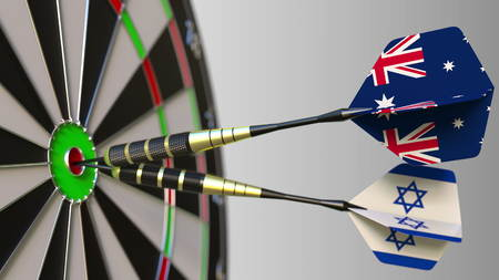 Flags of Australia and Israel on darts hitting bullseye of the target. International cooperation or competition conceptual 3D rendering Stock Photo