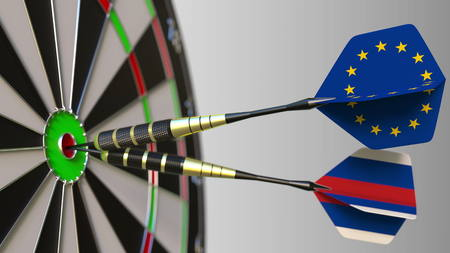 Flags of the European Union and Russia on darts hitting bullseye of the target. International cooperation or competition conceptual 3D rendering