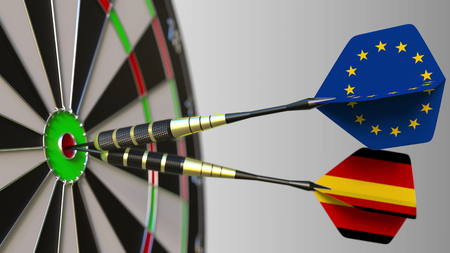 Flags of the European Union and Germany on darts hitting bullseye of the target. International cooperation or competition conceptual 3D rendering Stock Photo