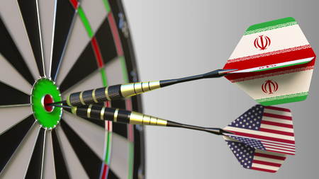 Flags of Iran and the USA on darts hitting bullseye of the target. International cooperation or competition conceptual 3D rendering