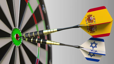 Flags of Spain and Israel on darts hitting bullseye of the target. International cooperation or competition conceptual 3D rendering