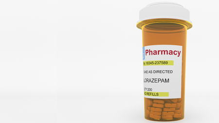 LORAZEPAM generic drug pills in a prescription bottle. Conceptual 3D rendering