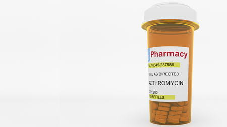 AZITHROMYCIN  generic drug pills in a prescription bottle. Conceptual 3D rendering 스톡 콘텐츠