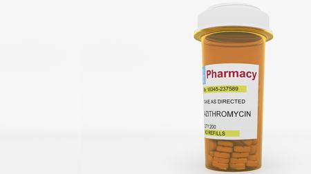 AZITHROMYCIN  generic drug pills in a prescription bottle. Conceptual 3D rendering Foto de archivo