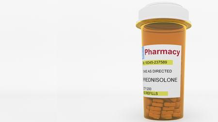 PREDNISOLONE generic drug pills in a prescription bottle. Conceptual 3D rendering
