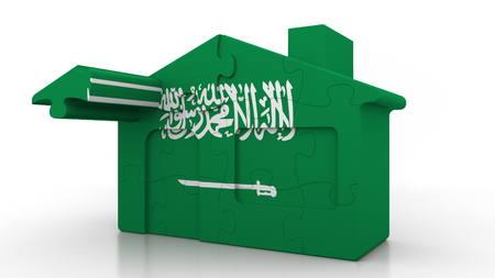 Building puzzle house featuring flag of Saudi Arabia. Arabian emigration, construction or real estate market conceptual 3D rendering Foto de archivo