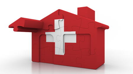 Building puzzle house featuring flag of Switzerland. Swiss emigration, construction or real estate market conceptual 3D rendering Reklamní fotografie
