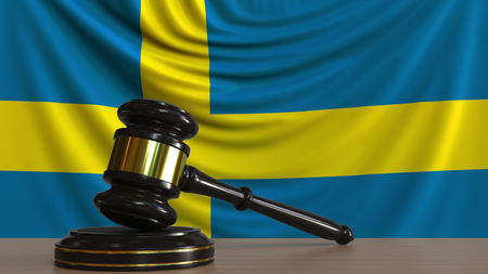 Judges gavel and block against the flag of Sweden. Swedish court conceptual 3D rendering