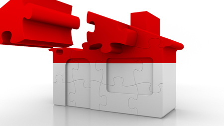 Building puzzle house featuring flag of Indonesia. Indonesian emigration, construction or real estate market conceptual 3D rendering