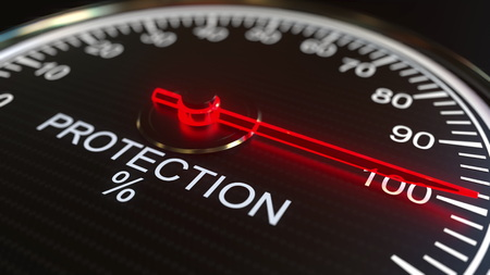 Protection meter or indicator conceptual 3D rendering 스톡 콘텐츠