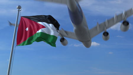 Commercial airplane flying above waving flag of Jordan. 3D rendering