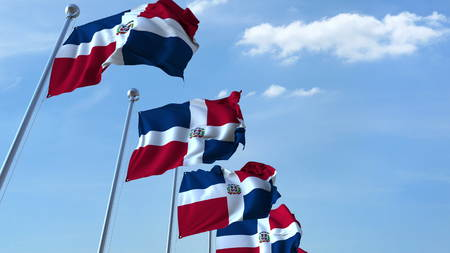 Waving flags of the Dominican Republic against the sky. 3D rendering Stok Fotoğraf