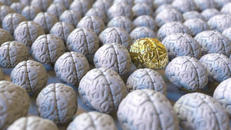 Brain made of gold among the usual ones. Genius, mastermind, talent or education conceptual 3D rendering 스톡 콘텐츠