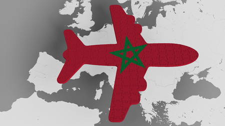 Airplane puzzle featuring flag of Morocco against the world map. Moroccan tourism conceptual 3D rendering