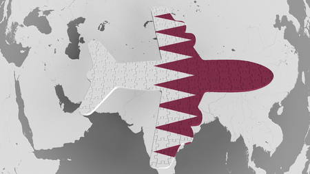 Airplane puzzle featuring flag of Qatar against the world map. Qatari tourism conceptual 3D rendering Stock Photo