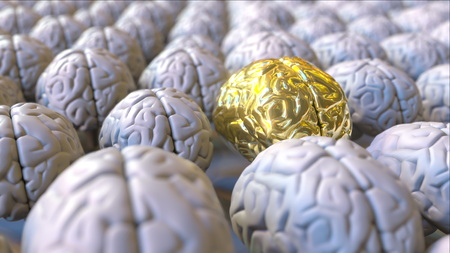 Brain made of gold among the ordinary ones. Genius, mastermind, talent or education conceptual 3D rendering