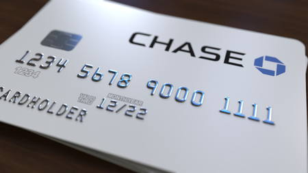 Plastic card with logo of the Chase Bank. Editorial conceptual 3D rendering