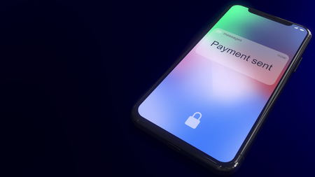 Payment sent notification pops up on the screen of a modern smartphone. Conceptual 3D rendering Stockfoto