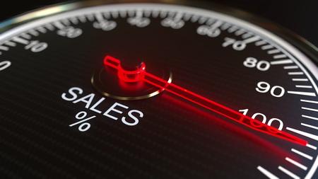Sales meter or indicator, 3D rendering