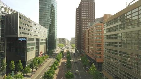 BERLIN, GERMANY - APRIL 30, 2018. Aerial view of Leipziger Strasse or steet towards Potsdamer Platz
