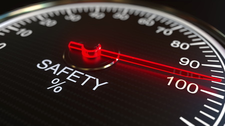 Safety meter or indicator. 3D rendering Banco de Imagens