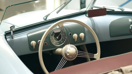 Dashboard of a retro sports car