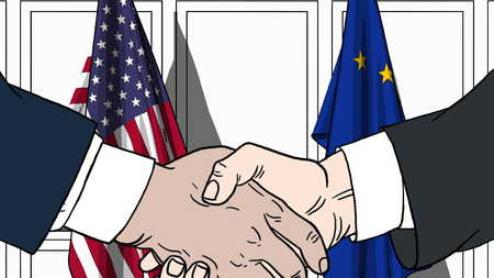 Businessmen or politicians shaking hands against flags of USA and EU. Meeting or cooperation related cartoon illustration