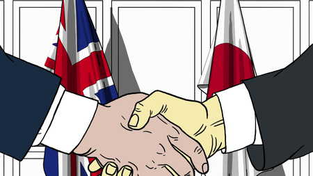 Businessmen or politicians shaking hands against flags of Great Britain and Japan. Meeting or cooperation related cartoon illustration Stock Photo