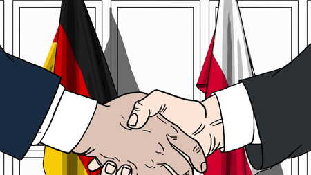Businessmen or politicians shake hands against flags of Germany and Poland. Official meeting or cooperation related cartoon illustration Stock Photo