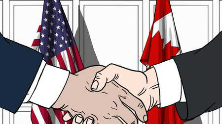 Businessmen or politicians shaking hands against flags of USA and Canada. Meeting or cooperation related cartoon illustration Stock Photo