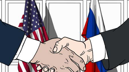 Businessmen or politicians shaking hands against flags of USA and Russia. Meeting or cooperation related cartoon illustration Stock Photo