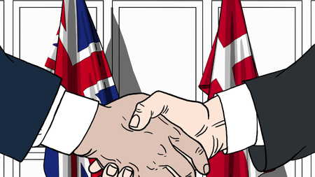 Businessmen or politicians shake hands against flags of Britain and Denmark. Official meeting or cooperation related cartoon illustration Stock Photo