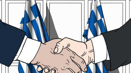 Businessmen or politicians shake hands against flags of Greece. Official meeting or cooperation related cartoon illustration