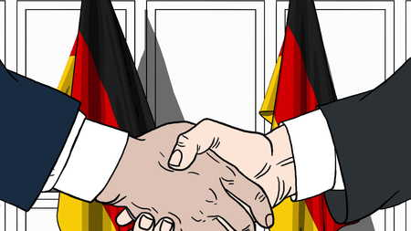 Businessmen or politicians shaking hands against flags of Germany. Meeting or cooperation related cartoon illustration