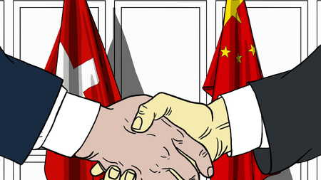 Businessmen or politicians shaking hands against flags of Switzerland and China. Meeting or cooperation related cartoon illustration