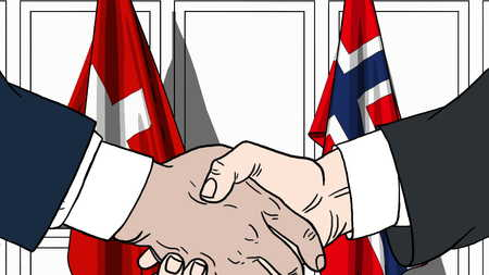 Businessmen or politicians shake hands against flags of Switzerland and Norway. Official meeting or cooperation related cartoon illustration Stock Photo