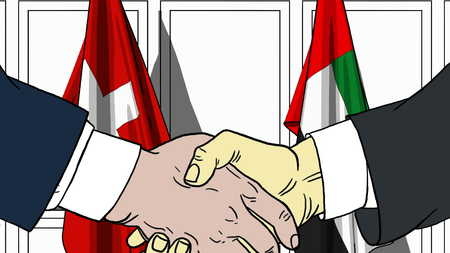 Businessmen or politicians shake hands against flags of Switzerland and UAE. Official meeting or cooperation related cartoon illustration
