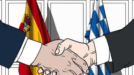 Businessmen or politicians shake hands against flags of Spain and Greece. Official meeting or cooperation related cartoon illustration