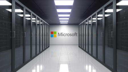 Microsoft logo on the wall of the server room. Editorial 3D rendering 新闻类图片