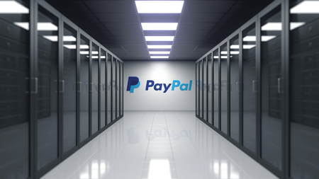 PayPal logo on the wall of the server room. Editorial 3D rendering Editoriali